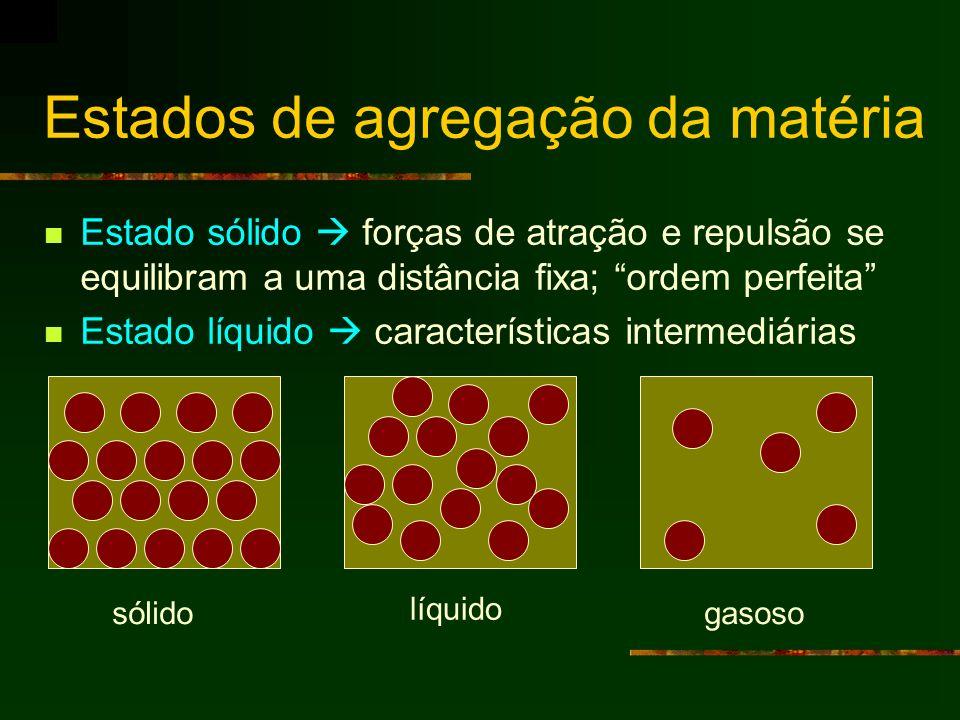 Estados de agregação da matéria Estado sólido forças de atração e repulsão se equilibram a uma distância fixa; ordem perfeita Estado líquido caracterí