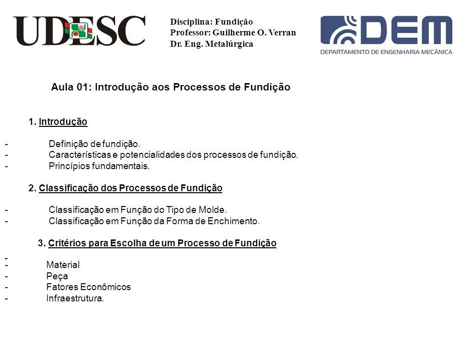 Critérios para escolha de um processo de fundição: Material Peça Fatores Econômicos Infraestrutura Disciplina: Fundição Professor: Guilherme O.