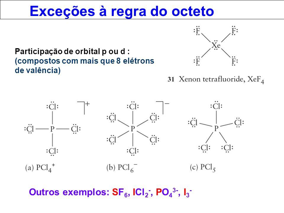 Exceções à regra do octeto Participação de orbital p ou d : (compostos com mais que 8 elétrons de valência) Outros exemplos: SF 6, ICl 2 -, PO 4 3-, I