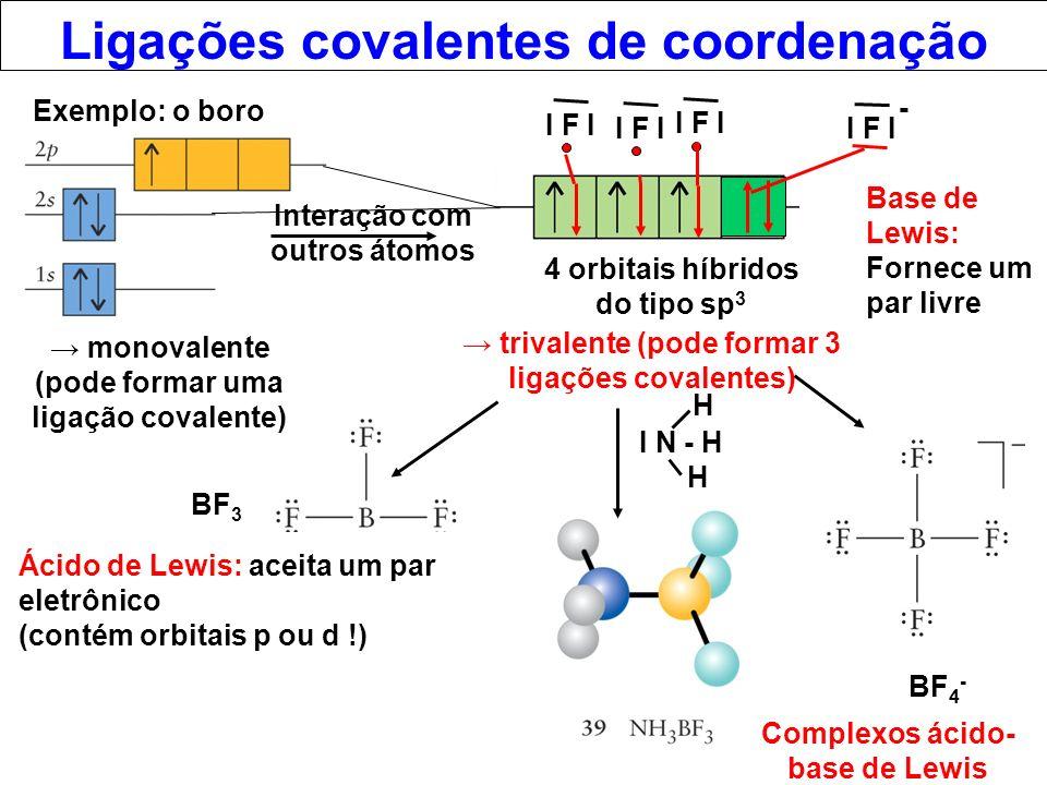 Ligações covalentes de coordenação Ácido de Lewis: aceita um par eletrônico (contém orbitais p ou d !) Base de Lewis: Fornece um par livre Exemplo: o