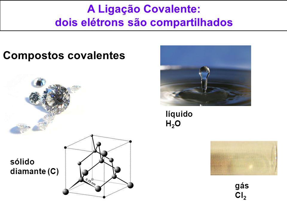 A Ligação Covalente: dois elétrons são compartilhados Compostos covalentes sólido diamante (C) líquido H 2 O gás Cl 2