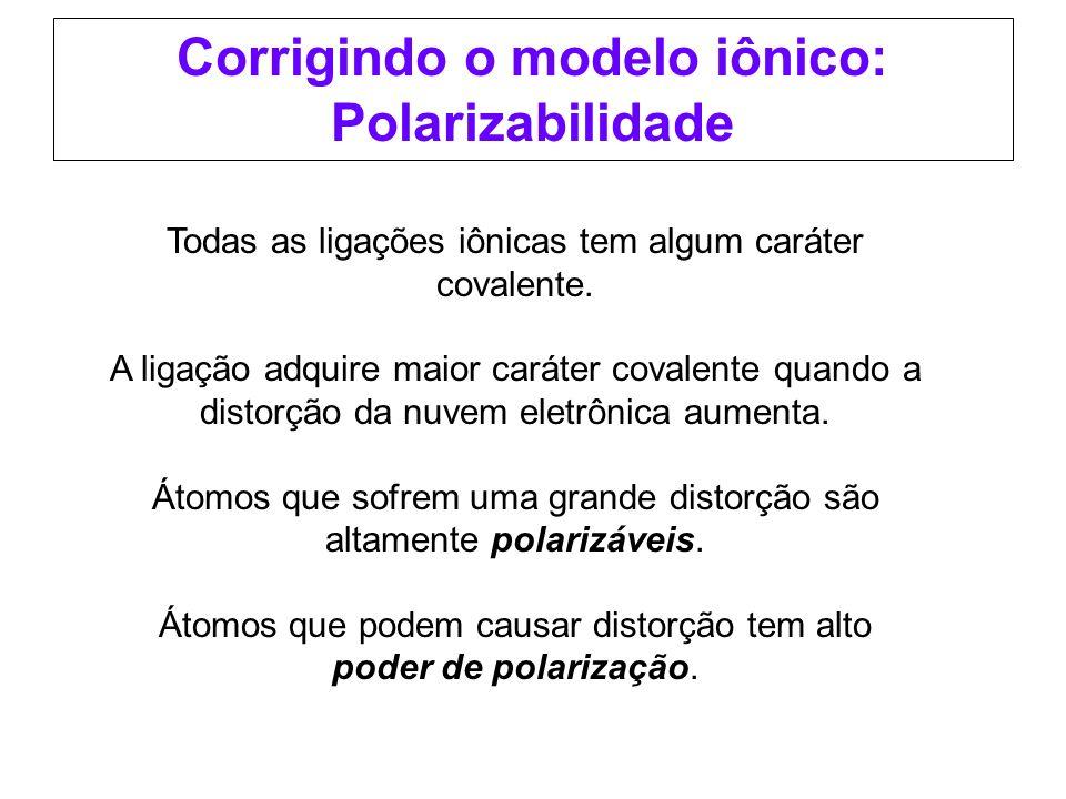 Corrigindo o modelo iônico: Polarizabilidade Todas as ligações iônicas tem algum caráter covalente. A ligação adquire maior caráter covalente quando a