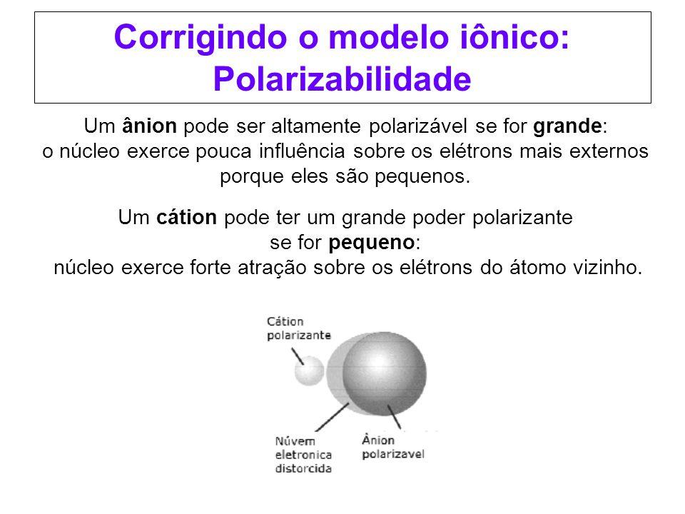 Corrigindo o modelo iônico: Polarizabilidade Um ânion pode ser altamente polarizável se for grande: o núcleo exerce pouca influência sobre os elétrons