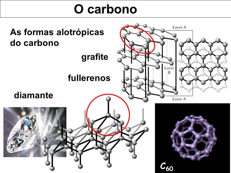 O carbono As formas alotrópicas do carbono diamante grafite C 60 fullerenos