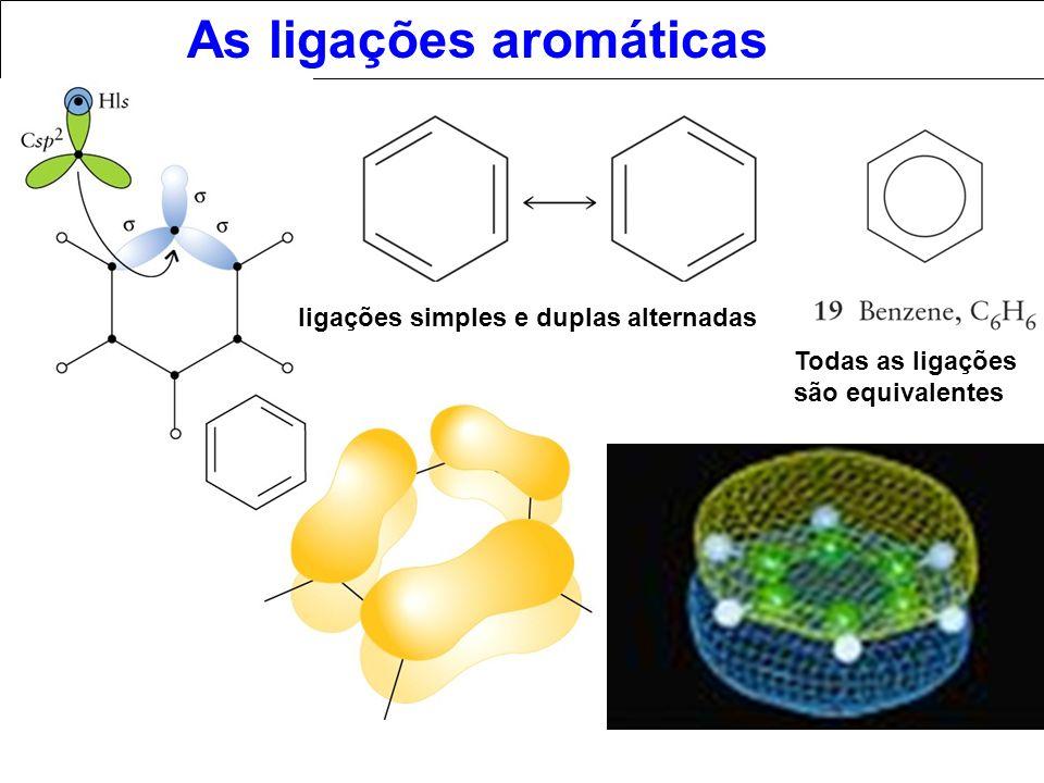 As ligações aromáticas ligações simples e duplas alternadas Todas as ligações são equivalentes