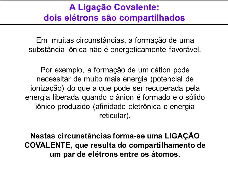 A Ligação Covalente: dois elétrons são compartilhados Em muitas circunstâncias, a formação de uma substância iônica não é energeticamente favorável. P