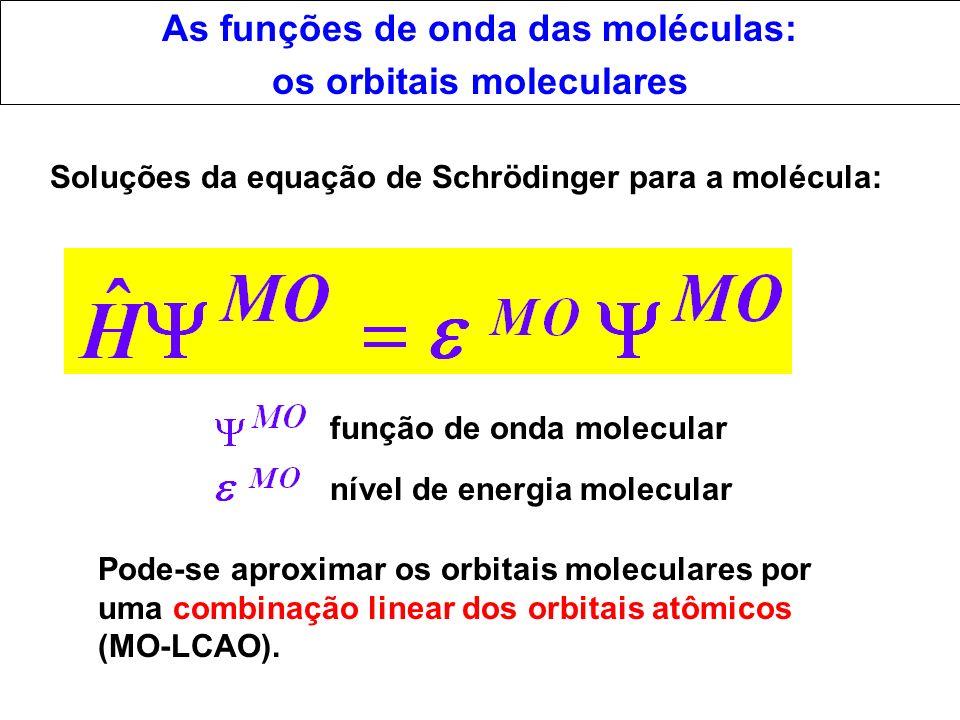 As funções de onda das moléculas: os orbitais moleculares Pode-se aproximar os orbitais moleculares por uma combinação linear dos orbitais atômicos (M