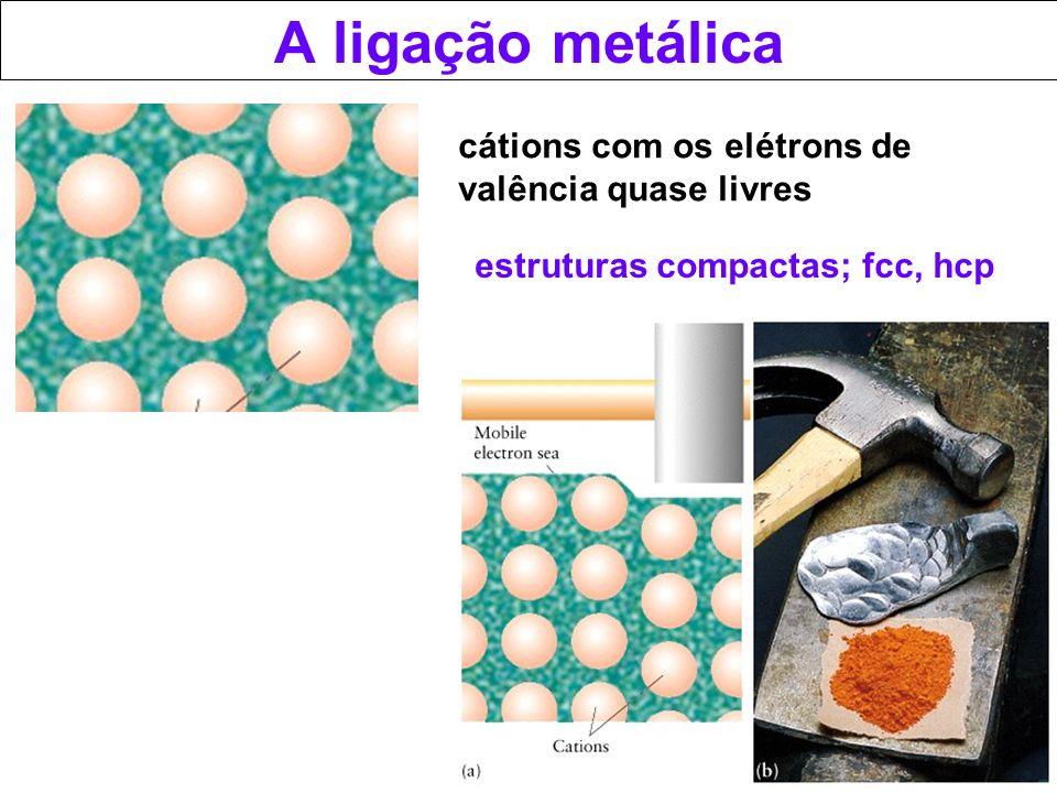 A ligação metálica cátions com os elétrons de valência quase livres estruturas compactas; fcc, hcp