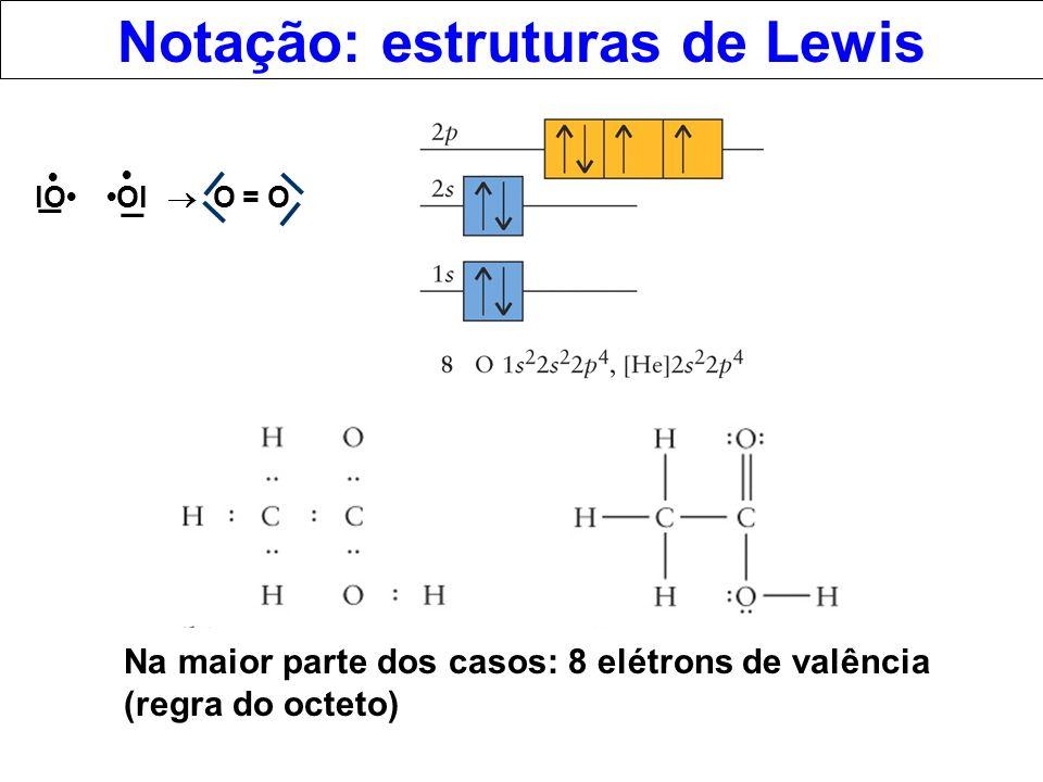 Notação: estruturas de Lewis lO Ol _ _ O = O Na maior parte dos casos: 8 elétrons de valência (regra do octeto)