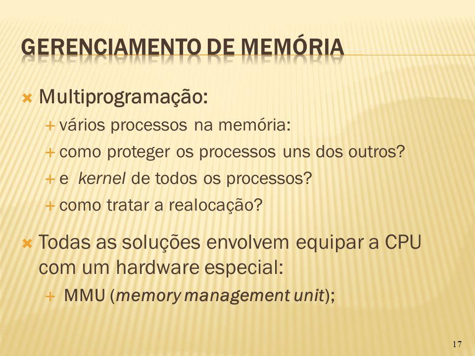Multiprogramação: vários processos na memória: como proteger os processos uns dos outros? e kernel de todos os processos? como tratar a realocação? To