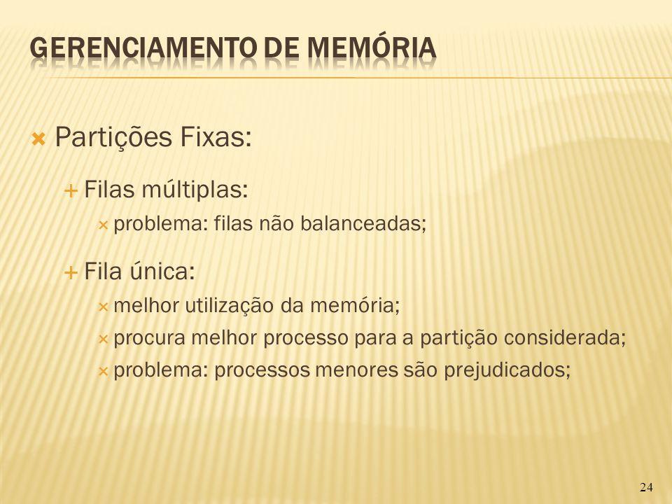 Partições Fixas: Filas múltiplas: problema: filas não balanceadas; Fila única: melhor utilização da memória; procura melhor processo para a partição c
