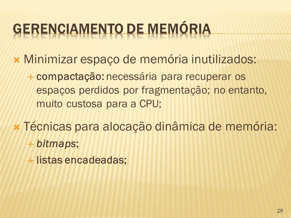 Minimizar espaço de memória inutilizados: compactação: necessária para recuperar os espaços perdidos por fragmentação; no entanto, muito custosa para