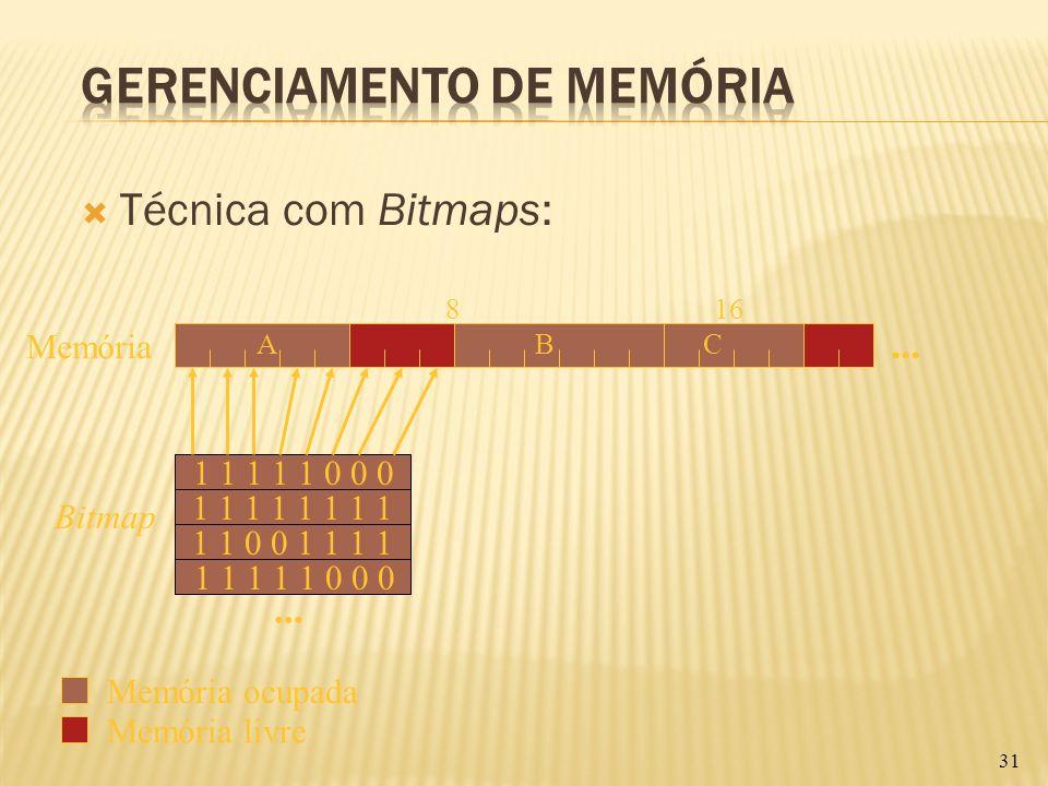 Técnica com Bitmaps: 31 Memória livre 816 ABC... Memória 1 1 1 1 1 0 0 0 1 1 0 0 1 1 1 1 1 1 1 1... 1 1 1 1 1 0 0 0 Bitmap Memória ocupada