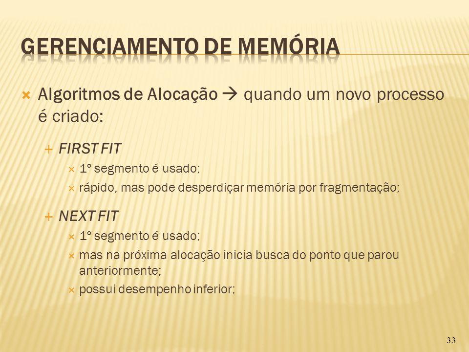 Algoritmos de Alocação quando um novo processo é criado: FIRST FIT 1º segmento é usado; rápido, mas pode desperdiçar memória por fragmentação; NEXT FI