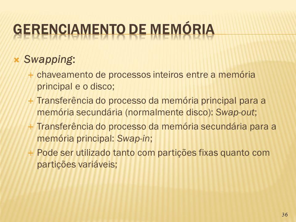Swapping: chaveamento de processos inteiros entre a memória principal e o disco; Transferência do processo da memória principal para a memória secundá