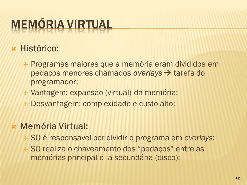Histórico: Programas maiores que a memória eram divididos em pedaços menores chamados overlays tarefa do programador; Vantagem: expansão (virtual) da