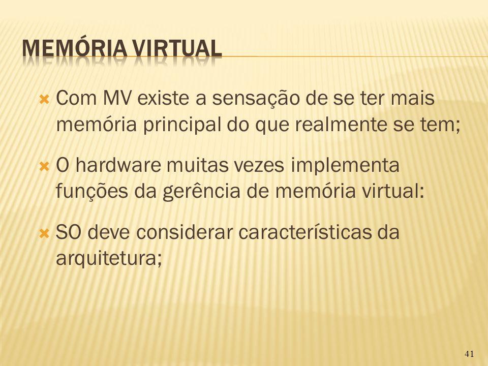 Com MV existe a sensação de se ter mais memória principal do que realmente se tem; O hardware muitas vezes implementa funções da gerência de memória v