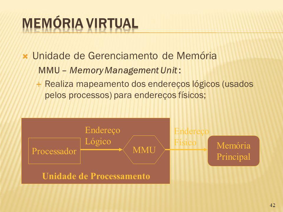 Unidade de Gerenciamento de Memória MMU – Memory Management Unit : Realiza mapeamento dos endereços lógicos (usados pelos processos) para endereços fí