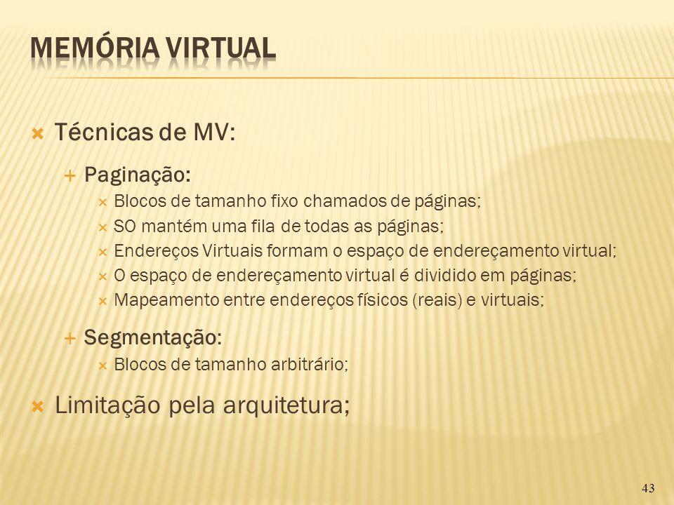 Técnicas de MV: Paginação: Blocos de tamanho fixo chamados de páginas; SO mantém uma fila de todas as páginas; Endereços Virtuais formam o espaço de e