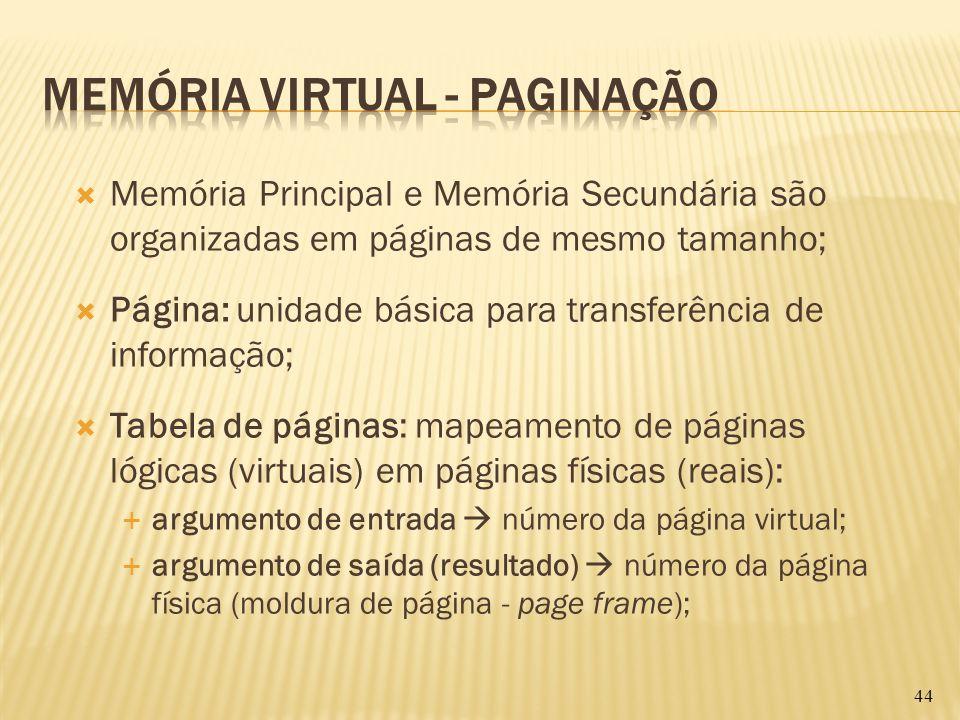 Memória Principal e Memória Secundária são organizadas em páginas de mesmo tamanho; Página: unidade básica para transferência de informação; Tabela de
