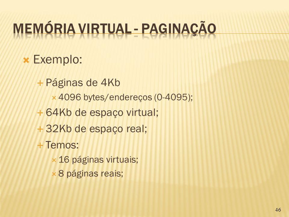 Exemplo: Páginas de 4Kb 4096 bytes/endereços (0-4095); 64Kb de espaço virtual; 32Kb de espaço real; Temos: 16 páginas virtuais; 8 páginas reais; 46