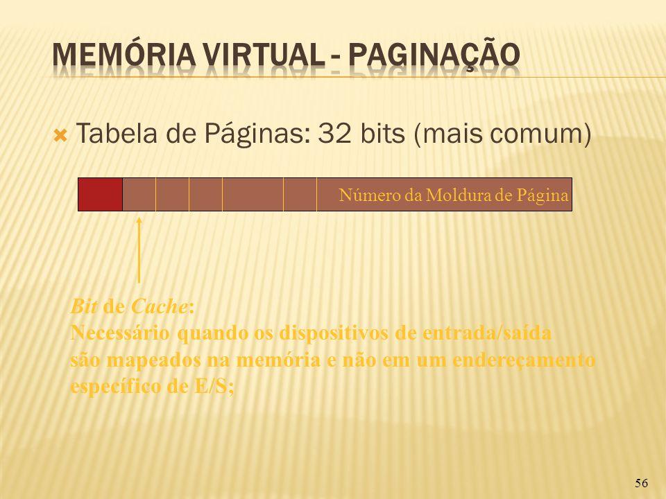 Tabela de Páginas: 32 bits (mais comum) 56 Bit de Cache: Necessário quando os dispositivos de entrada/saída são mapeados na memória e não em um endere