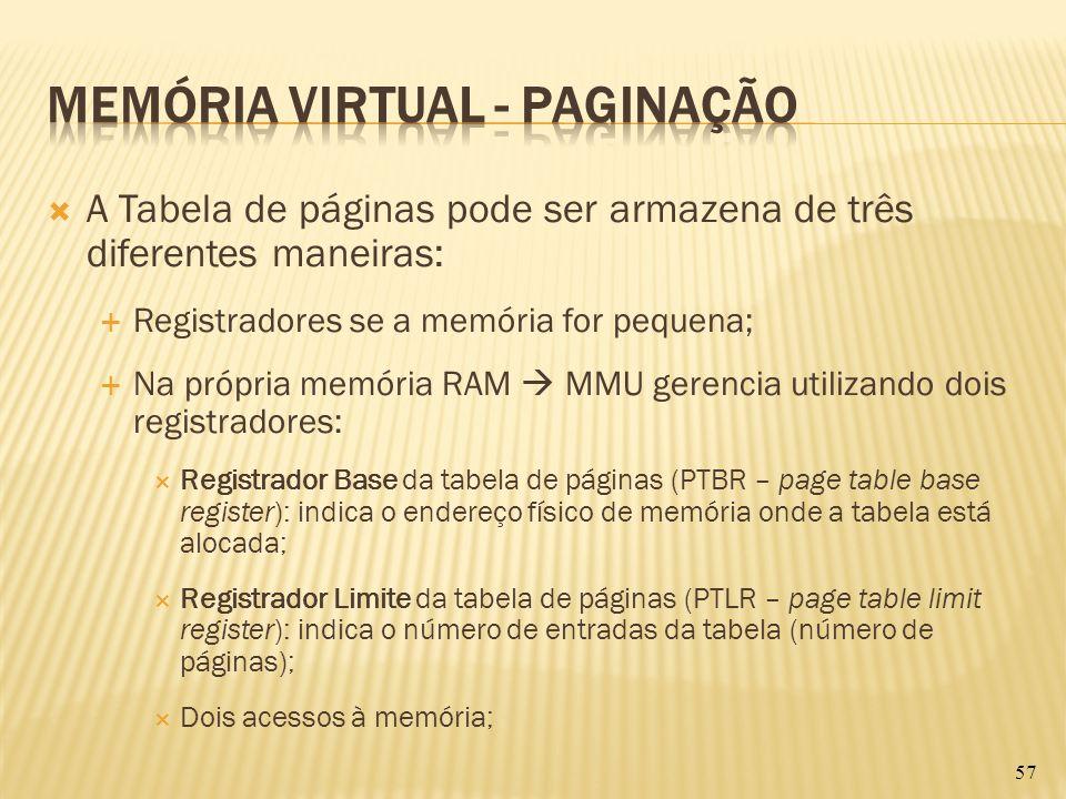 A Tabela de páginas pode ser armazena de três diferentes maneiras: Registradores se a memória for pequena; Na própria memória RAM MMU gerencia utiliza