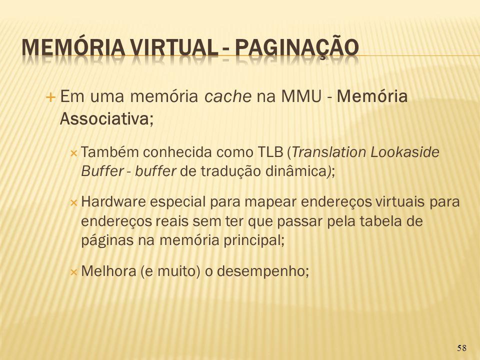 Em uma memória cache na MMU - Memória Associativa; Também conhecida como TLB (Translation Lookaside Buffer - buffer de tradução dinâmica); Hardware es