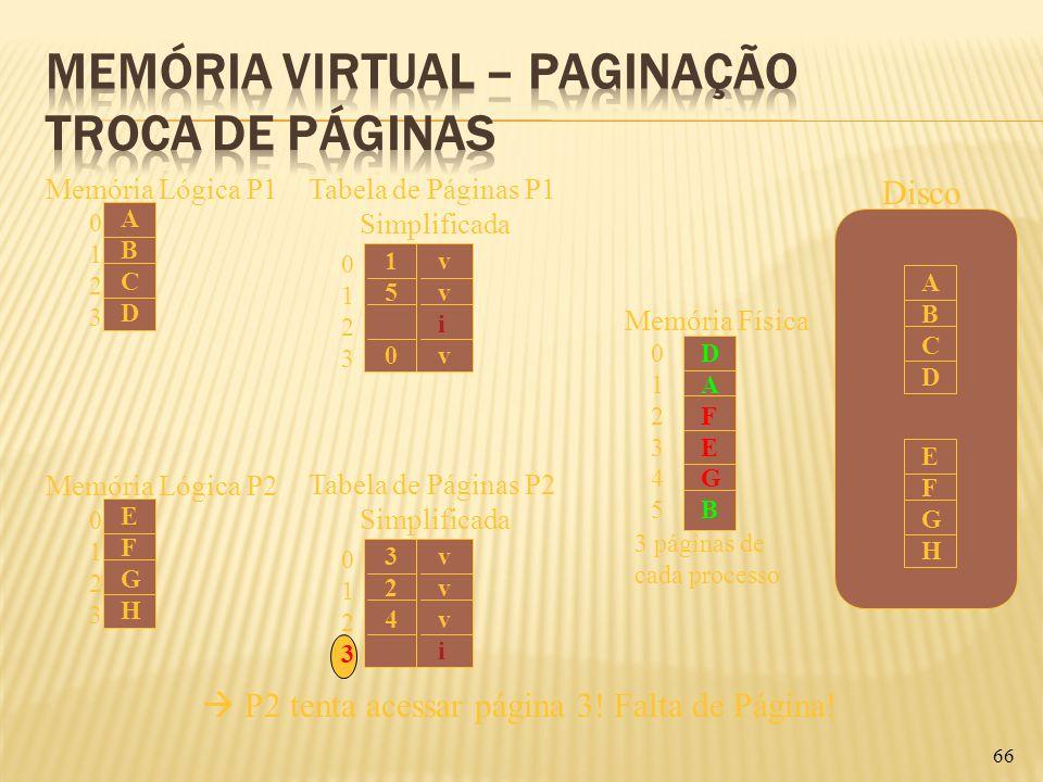 66 01230123 ABCDABCD Memória Lógica P1 01230123 324324 vvvivvvi Tabela de Páginas P2 Simplificada 01230123 EFGHEFGH Memória Lógica P2 DAFEGBDAFEGB Mem