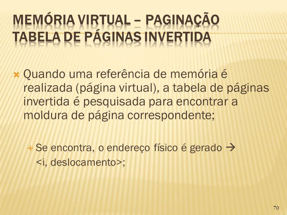 Quando uma referência de memória é realizada (página virtual), a tabela de páginas invertida é pesquisada para encontrar a moldura de página correspon