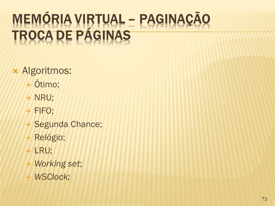 Algoritmos: Ótimo; NRU; FIFO; Segunda Chance; Relógio; LRU; Working set; WSClock; 73