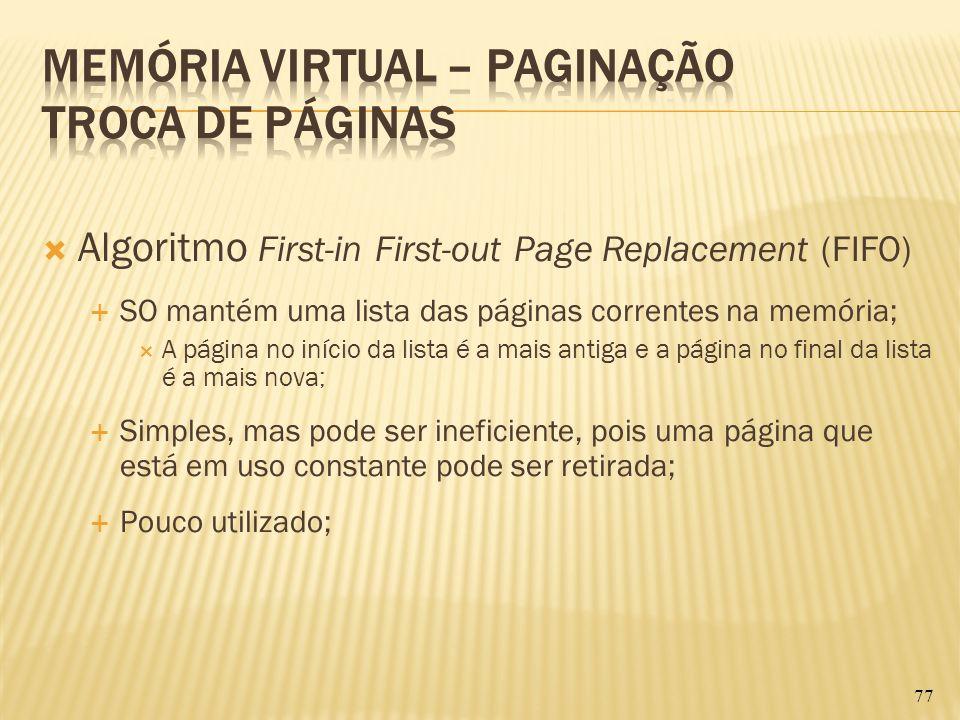Algoritmo First-in First-out Page Replacement (FIFO) SO mantém uma lista das páginas correntes na memória; A página no início da lista é a mais antiga
