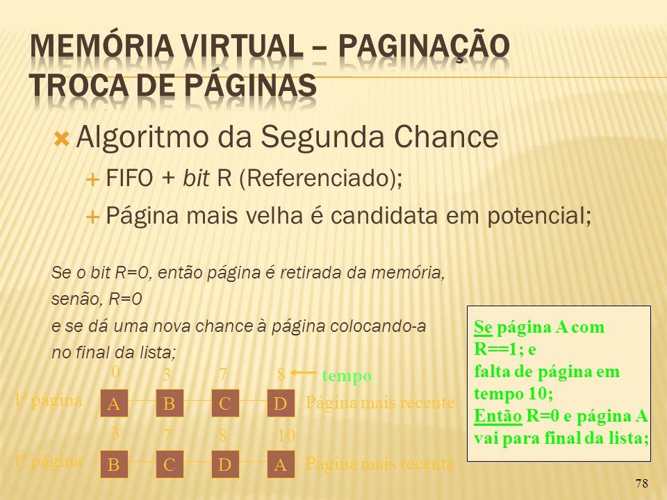 Algoritmo da Segunda Chance FIFO + bit R (Referenciado); Página mais velha é candidata em potencial; Se o bit R=0, então página é retirada da memória,