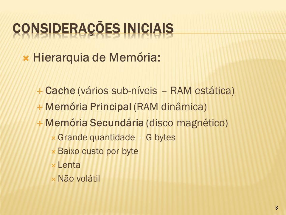 Hierarquia de Memória: Cache (vários sub-níveis – RAM estática) Memória Principal (RAM dinâmica) Memória Secundária (disco magnético) Grande quantidad
