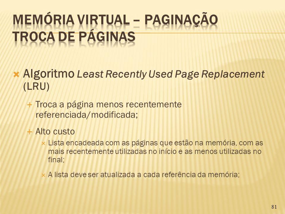 Algoritmo Least Recently Used Page Replacement (LRU) Troca a página menos recentemente referenciada/modificada; Alto custo Lista encadeada com as pági
