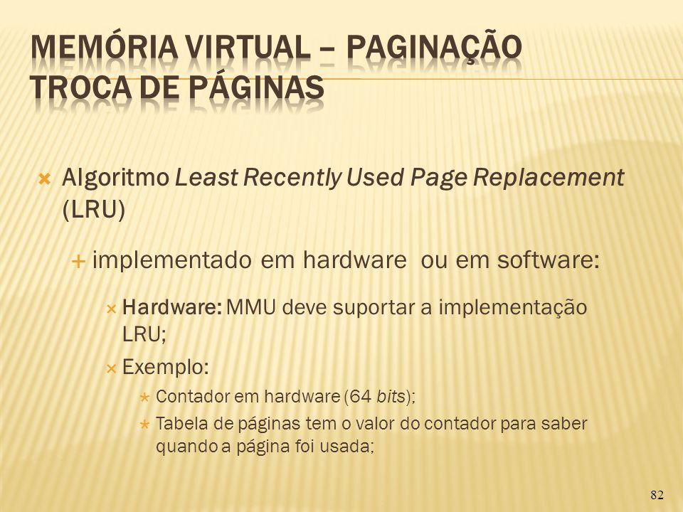 Algoritmo Least Recently Used Page Replacement (LRU) implementado em hardware ou em software: Hardware: MMU deve suportar a implementação LRU; Exemplo