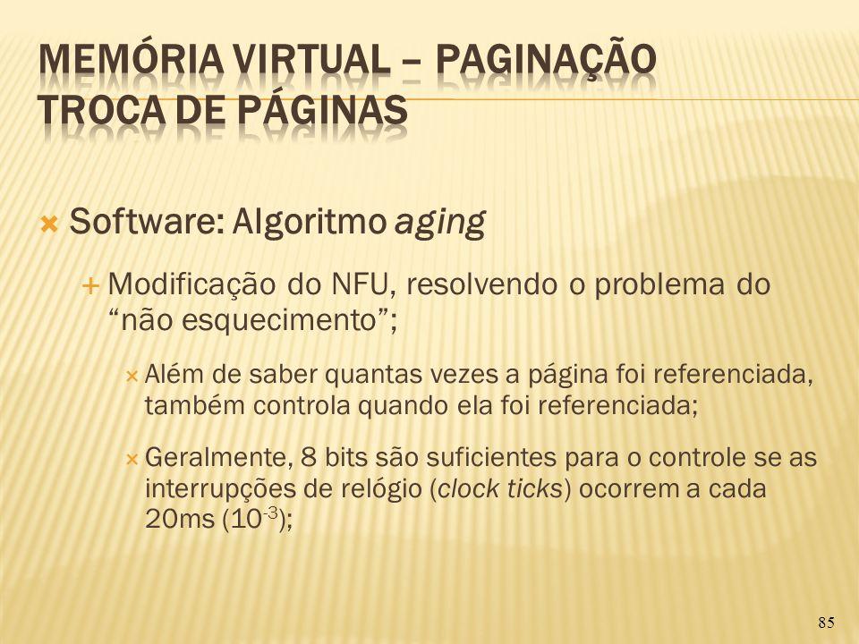 Software: Algoritmo aging Modificação do NFU, resolvendo o problema do não esquecimento; Além de saber quantas vezes a página foi referenciada, também