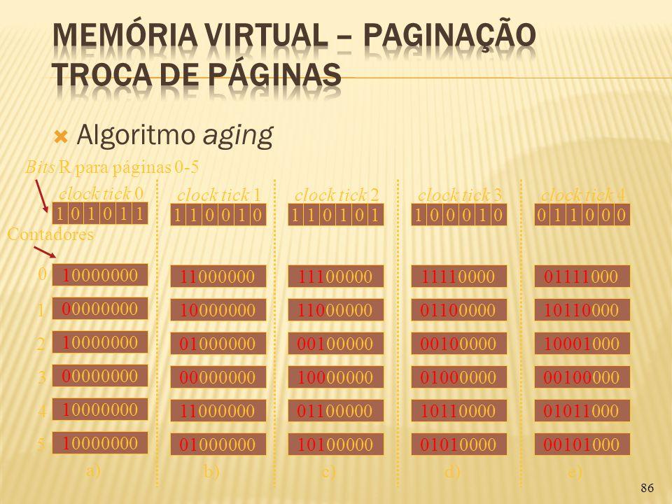 Algoritmo aging 86 clock tick 0 101011 10000000 00000000 10000000 00000000 10000000 0 1 2 3 4 5 a) Bits R para páginas 0-5 clock tick 1 110010 1100000