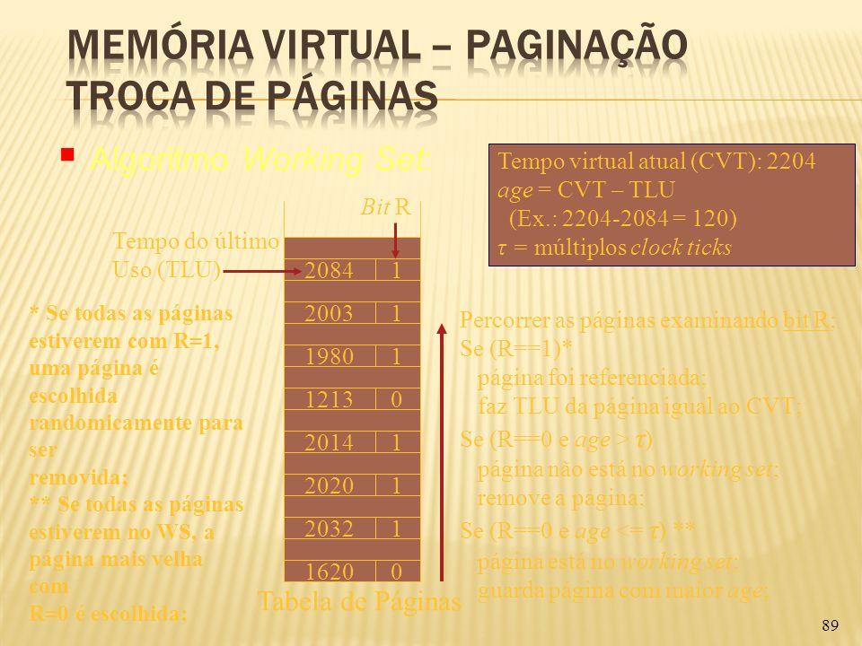 89 Tempo virtual atual (CVT): 2204 age = CVT – TLU (Ex.: 2204-2084 = 120) τ = múltiplos clock ticks Bit R 20841 12130 19801 20031 20141 20201 20321 16