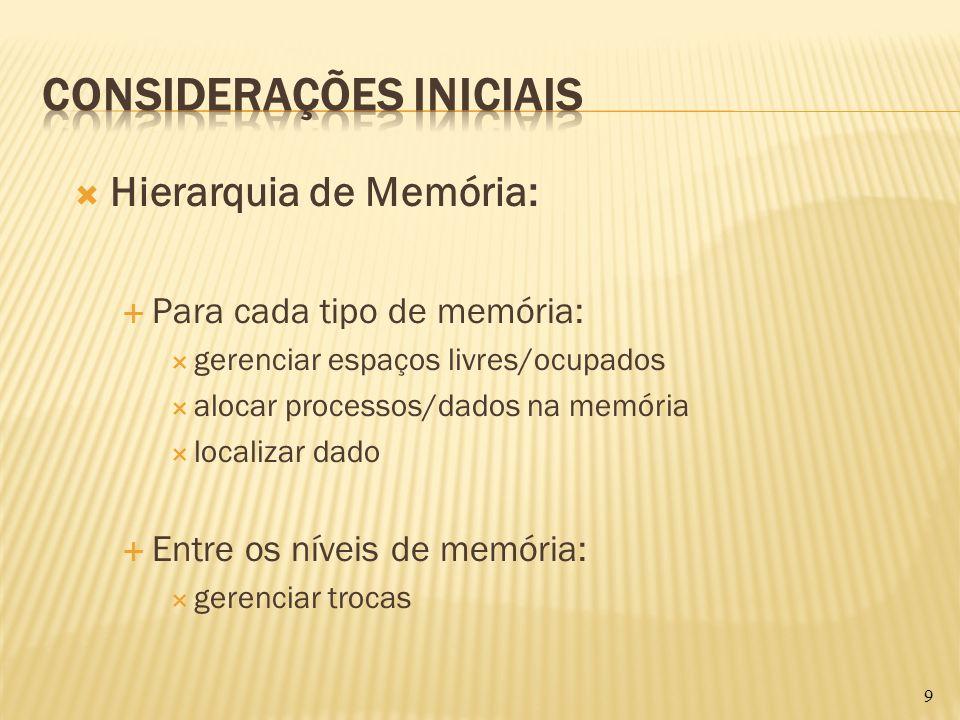 Hierarquia de Memória: Para cada tipo de memória: gerenciar espaços livres/ocupados alocar processos/dados na memória localizar dado Entre os níveis d
