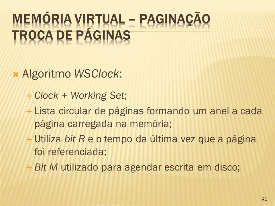 Algoritmo WSClock: Clock + Working Set; Lista circular de páginas formando um anel a cada página carregada na memória; Utiliza bit R e o tempo da últi