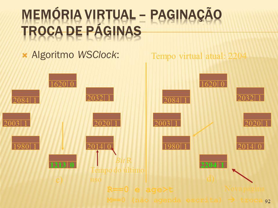 Algoritmo WSClock: 92 Tempo virtual atual: 2204 Tempo do último uso 20031 20841 16200 20321 19801 12130 20140 20201 Bit R c) 20841 16200 20321 20031 1