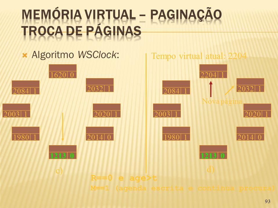 Algoritmo WSClock: 93 Tempo virtual atual: 2204 20031 20841162002032119801121302014020201 c) 2084122041203212003119801121302014020201 d) Nova página R
