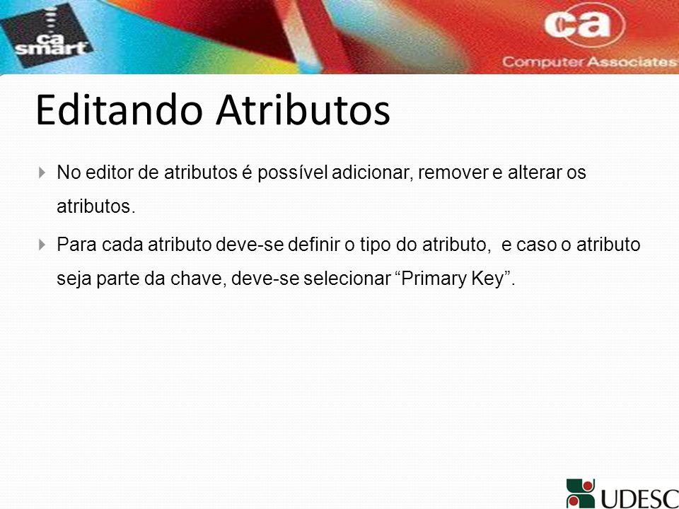 Editando Atributos No editor de atributos é possível adicionar, remover e alterar os atributos. Para cada atributo deve-se definir o tipo do atributo,