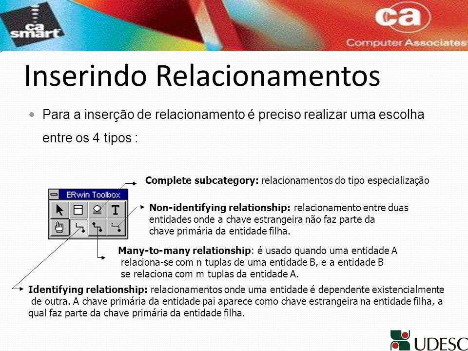 Inserindo Relacionamentos Para a inserção de relacionamento é preciso realizar uma escolha entre os 4 tipos : Complete subcategory: relacionamentos do