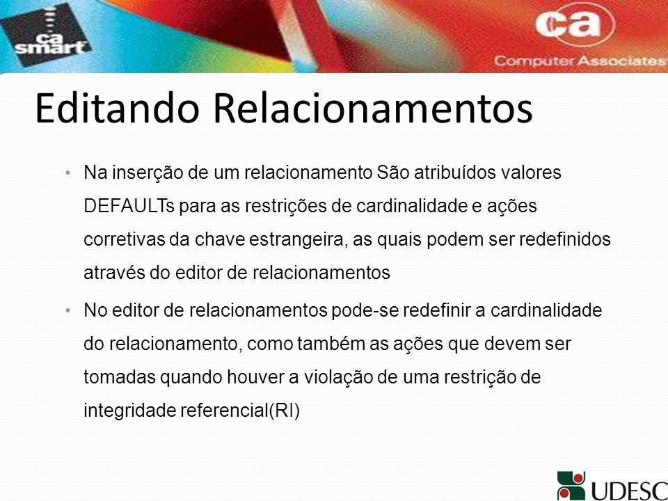 Editando Relacionamentos Na inserção de um relacionamento São atribuídos valores DEFAULTs para as restrições de cardinalidade e ações corretivas da ch