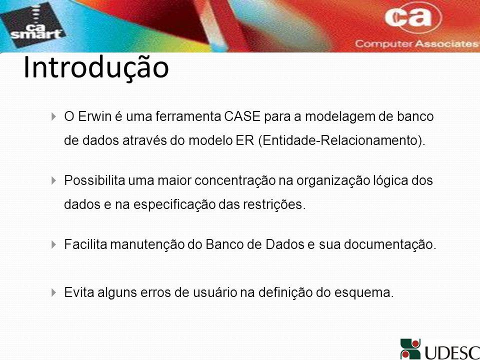 Introdução O Erwin é uma ferramenta CASE para a modelagem de banco de dados através do modelo ER (Entidade-Relacionamento). Possibilita uma maior conc