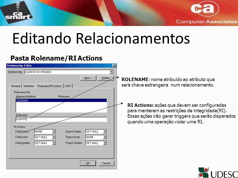 Editando Relacionamentos ROLENAME: nome atribuído ao atributo que será chave estrangeira num relacionamento. RI Actions: ações que devem ser configura