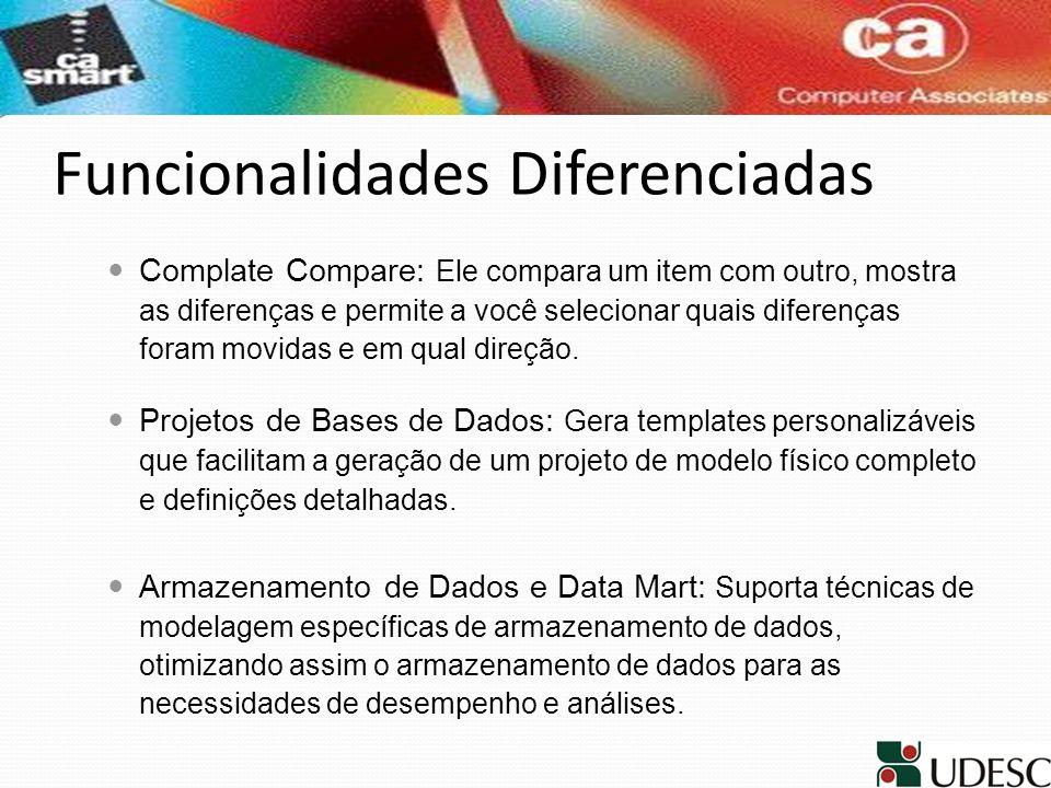 Funcionalidades Diferenciadas Complate Compare: Ele compara um item com outro, mostra as diferenças e permite a você selecionar quais diferenças foram