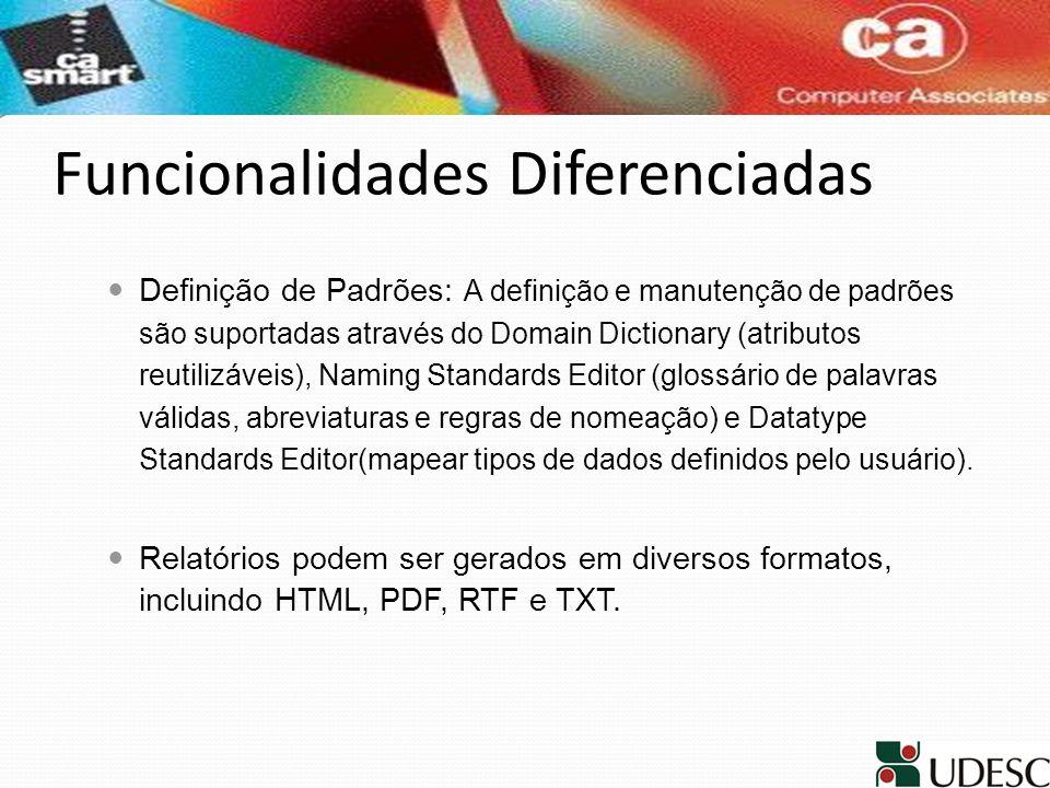 Funcionalidades Diferenciadas Definição de Padrões: A definição e manutenção de padrões são suportadas através do Domain Dictionary (atributos reutili